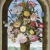 LaquePrint op hout – Vaas met bloemen in raam – Ambrosius Bosschaert de Oude – 19,5 x 30 cm – bestelnummer: LP011